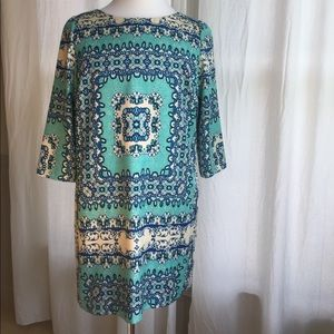 EUC The Limited Turquoise Patterned Shift Dress
